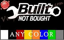 "BUILT NOT BOUGHT 9""x3"" Vinyl Decal Stickers Truck SUV Ford Chevy Dodge Ram"
