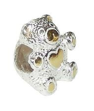 *New* Rhona Sutton 925 sterling silver love bear charm bead with gold detail