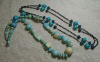 VINTAGE TEAL BLUE WOOD & LUCITE BEADED BOHO NECKLACE LOT