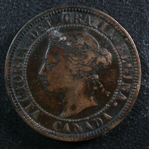 1 cent 1884 Obv. 2 Canada one large penny bronze Queen Victoria c ¢ VF-20