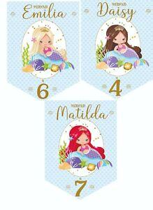 Mermaid Personalised Birthday Bunting,Birthday Party Banner,Choose Hair Colour