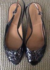 "TAHARI ""Crane"" Black Patent (Man Made) Slingback Flat Sandal 8 1/2 M"
