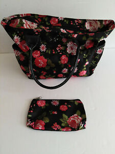 Ladies Black Floral Faux Leather Bag & Cosmetic Bag Beach travel flight Wash