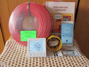 Smart WIFI warm tiles Floor Heating cable system 220-250sq.ft(21-24 sq m)230V