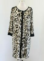 Chico's Black Leopard Print Contrast Shift Dress Chicos Size 1 Cheetah
