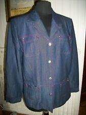 Veste blazer laine/polyester bleu jean surpiqué mauve UN JOUR AILLEURS 44 15ET46