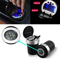 Black portable Car ashtray with night LED light and compass . Metals Car decor