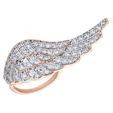Round Cubic Zirconia Angel Wing Ring in 14K Rose Gold Over Sterling Silver