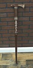 "Vintage / Antique Walking Cane - Hand Carved Wood Tomahawk Eagle Head 34"""