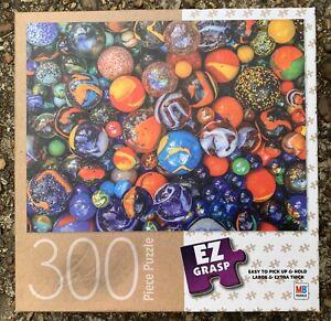 COLORFUL GLASS MARBLES JIGSAW PUZZLE, 300 PIECES, 18x24, MILTON BRADLEY EZ GRASP