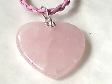 STERLING SILVER & ROSE QUARTZ HEART 30mm.PENDANTon a PINK LEATHER THONG £9.95nwt