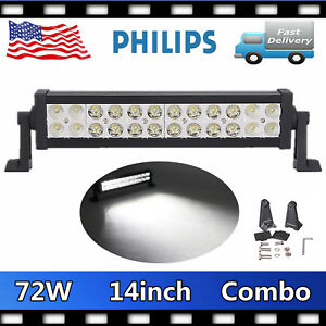 2X 14inch 72W Philips LED Work Light Bar Combo Offroad Driving SUV ATV Vehicles
