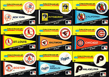 1986 FLEER BASEBALL TEAM LOGO STICKERS COMPLETE PENNANT SET FAMOUS FEATS ON BACK