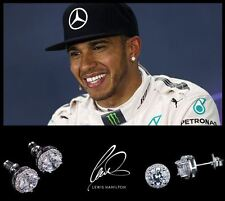 Men's/boy's Lewis Hamilton 18ct White Gold Plated DESIGNER Crystal Gem Earrings