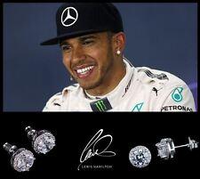 Men's/Boy's: Lewis Hamilton 18ct White Gold Plated Designer Crystal Gem Earrings