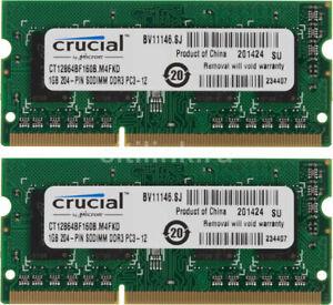 Crucial 2GB -2 x 1GB 1600MHz PC3-12800 1.35V 204-Pin Laptop DDR3L SO-DIMM Memory