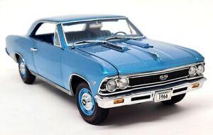 Ertl Authentics 1/18 Scale - 1966 Chevy Chevelle SS 396 Metallic Blue Model Car