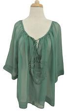 ROBERTA FREYMANN Silk Atia Top M NWT $195 peasant boho embroidered
