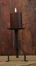 """Primitive Black Pillar Candle Holder, 8"""" Tall, 4"""" Candle Plate"""
