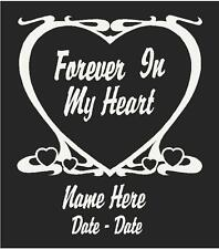 "Forever In My Heart Memorial Decal Personalized 6.5""H"