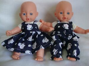 """12"""" baby dolls clothes kitten print  dress/ dungarees made to fit 30cm doll"""