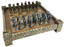 "KING ARTHUR KNIGHTS W/ DRAGON FANTASY MEDIEVAL TIMES CHESS Set CASTLE BOARD 17"""