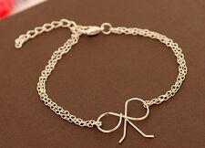 Silver tone cut out bow chain bracelet 50s retro