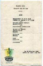 MENU  CLASSE 1920 BANQUET DES 55 ANS HOTEL DU PARC LE PUY 1955