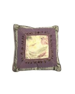 Croscill Discontinued Purple Green Throw Pillow Luxury Home Decor Beads Floral