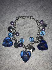 Charm Bracelet Silver Blue Heart