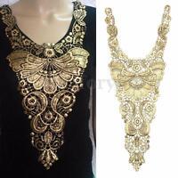 NEW Floral Embroidered Metallic Gold Lace Venise Venice Collar Neckline Applique