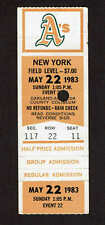 1983 OAKLAND A'S vs NEW YORK YANKEES  TICKET STUB