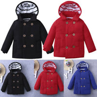 UK Newborn Toddler Baby Boys Winter Warm Outerwear Hooded Coat Kids Thick Jacket