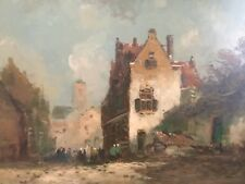 old oil painting on wood panel town vlaams flemisch