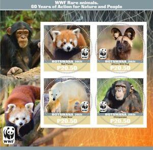 Stamps  Fauna 2021  60 years WWF Rhino, Panda, Monkey, Bear, Hyena