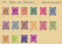 Deutschland 1951 Ziffer mit Posthorn Gestempelte Satz