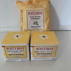 Burt's Bee's Day & Night Cream 1.8 oz ea & Facial Towelettes Lot of 3