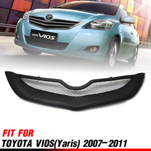 Front Matt Matte Black Net Grille Grill For Toyota Vios Belta Sedan 2007-2012