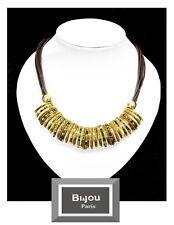 Luxus Lederkette Halskette Bi&Jou Paris Leder Kette Korallen-Perlen