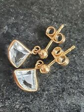 18ct Gold Blue Aquamarine Drop Dangle Earrings 750 by UnoAerre Designer 1.75g