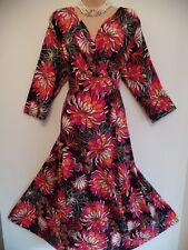 JOANNA HOPE SIZE 22 PRETTY VINTAGE 60'S STYLE FLORAL PRINT FLIPPY JERSEY DRESS