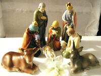 GOEBEL SACRART #HX 82 TMK3 JESUS KINGS COW DONKEY NATIVITY SCENE 8PC. SET
