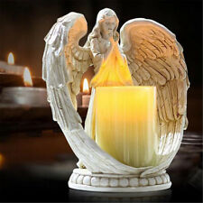 Resin Electronic Angel Candle Holder Feather Wings Memorial Ornaments Light