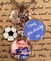 Personalised Photo Keyring Football I Love You Daddy - Christmas Gift Present