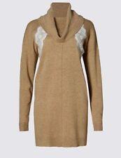 New M&S Collection Cowl Lace Trim Camel Beige Longline Tunic Jumper Sz UK 18