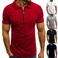 Mens Summer Short Sleeve Zipper Polo Neck T Shirts Slim Fit Casual Top Tee Golf