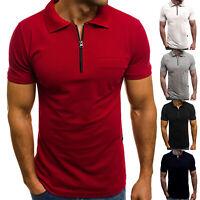 Stylish Mens Polo Shirt Top Short Sleeve Contrast Tip Collar Zip Neck Travel Tee