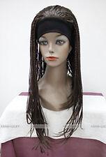 Dark Brown Long unique Man-made braids 3/4 half wig with headband FTLG017