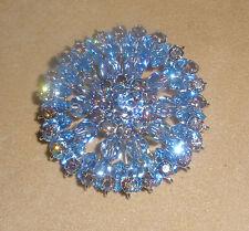 Unsigned Sherman Blue Rhinestone & Aurora Borealis Pin