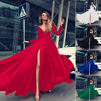 Women's Long Sleeve High Slit Maxi Dress Pageant Evening Party Dresses Ball Gown